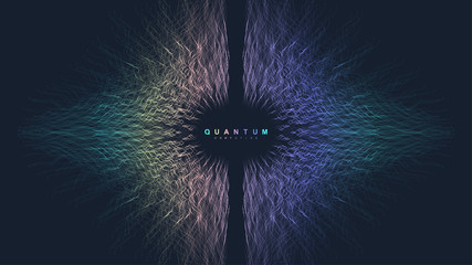 Quantum computer technology concept. Sphere explosion background. Deep learning artificial intelligence. Big data algorithms visualization. Waves flow. Quantum explosion, vector illustration.