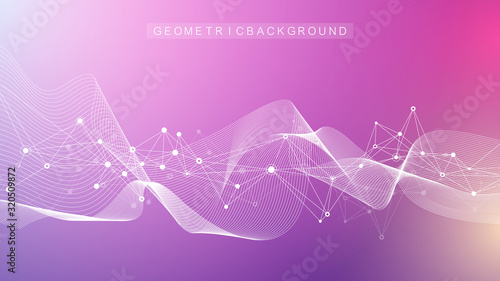 Abstract plexus background with connected lines and dots. Molecule and communication background. Graphic background for your design. Lines plexus big data visualization. Vector illustration.