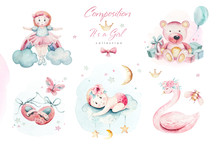 Baby Shower Kid Swan Watercolor Girl Design Cartoon Elements. Set Of Baby Pink Birthday Illustration. Newborn Party Invitation
