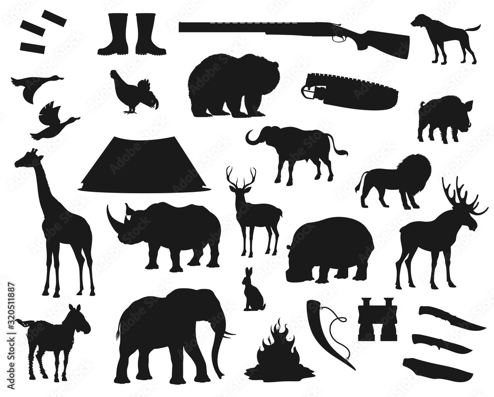 Fototapeta Hunt icons, wild animals and birds, hunter ammo equipment silhouettes. Vector deer, elk and bear, African safari hunt lion and elephant, rhinoceros, giraffe and boar, ducks and hunter rifle guns