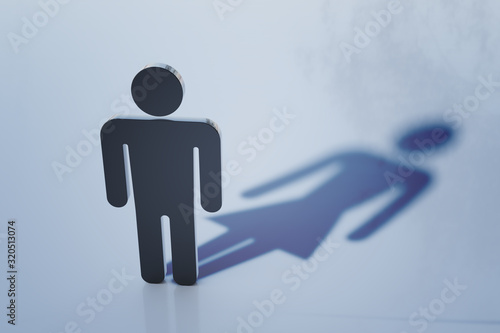 Fototapeta Symbol of homosexual man with female shadow. Homosexuality and transgender concept. 3D rendered illustration. obraz