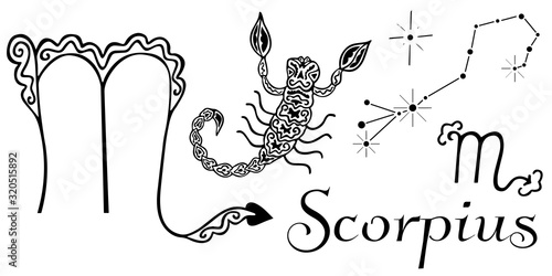 Photo Hand drawn set for zodiac sign Scorpius