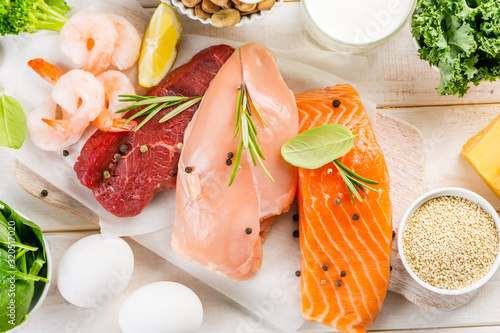 Selection of animal and plant protein sources - fish, meat, beans, cheese, eggs, Obraz na płótnie
