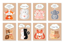 Valentine's Day Greeting Card Set With Cute Animals. Hugging Foxes, Hedgehogs, Pigs, Mice, Dogs, Cat And Rabbit, Squirrels, Owls. I Love You. Be My Valentine. Vector Illustration