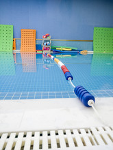 Low Angle Swimming Pool With Colourful Lane Divider