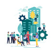 Flat vector illustration, city of the future. People who work as a team. Smart, modern, high-rises, environment, skyscraper architecture, popular business centers. List of real estate money. Work time