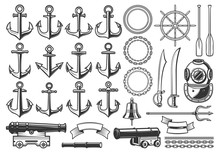 Nautical Heraldry Constructor Icons, Ship Anchor, Helm And Chain. Vector Isolated Nautical Heraldic Construction Symbols Of Aqualung, Frigate Cannon And Trident, Pirate Saber Swords And Captain Bell