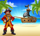 A pirate captain cartoon character on a tropical beach or island with a ship sailing in the background