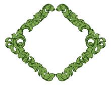 An Ornamental Filigree Heraldry Leaf Pattern Floral Scroll Border Vintage Style Frame Design