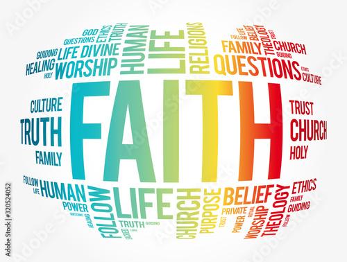 Obraz na plátne Faith word cloud collage, social concept background