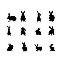 A Set Of Rabbits Silhouette In Different Shapes And Actions Isolated On A White Background. Cartoon Vector Element.