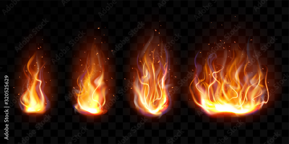Fototapeta Realistic fire, torch flame set isolated on transparent background. Burning campfire or candle blaze effect, glow orange and yellow shining flare design elements 3d vector illustration, icon, clip art