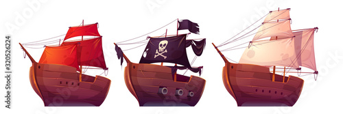 Fototapeta Vector sail boats with white, red and black sails
