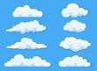 Leinwanddruck Bild - Set of clouds cartoon style isolated on white illustration