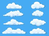 Set chmury kreskówki styl odizolowywający na białej ilustraci