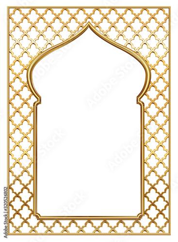 Photo Cover postcard golden oriental vintage arch frame