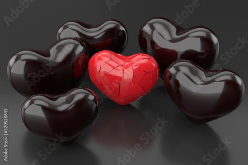 Broken heart background. 3D rendering. Tapéta, Fotótapéta