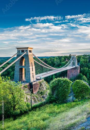 Obraz na plátně Clifton Suspension Bridge which spans the Avon gorge with the river Avon below, Bristol, England