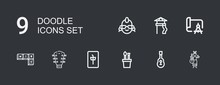 Editable 9 Doodle Icons For We...