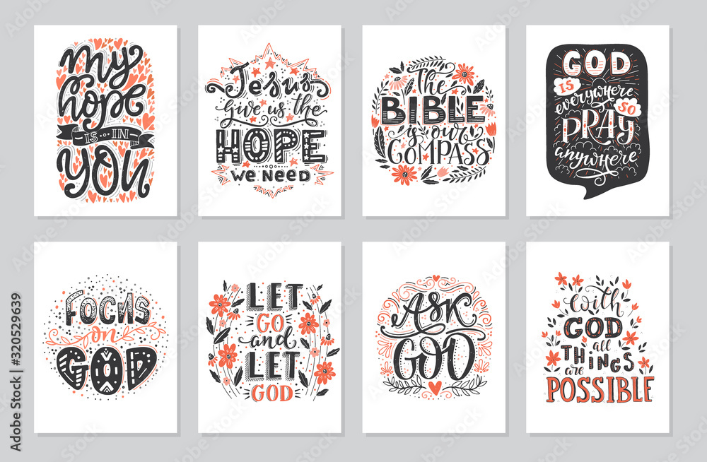 Fototapeta Vector set of greetings card with religions lettering. Modern bible lettering illustration.