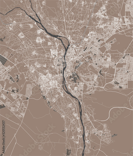 Fotografie, Obraz map of the city of Cairo, Giza, Egypt