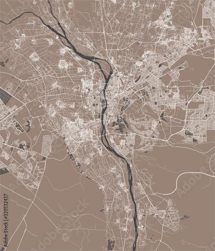 Fotografía map of the city of Cairo, Giza, Egypt
