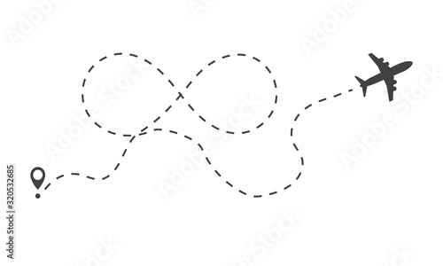 Airplane fligth route or air plane destination line with infinity symbol path icon