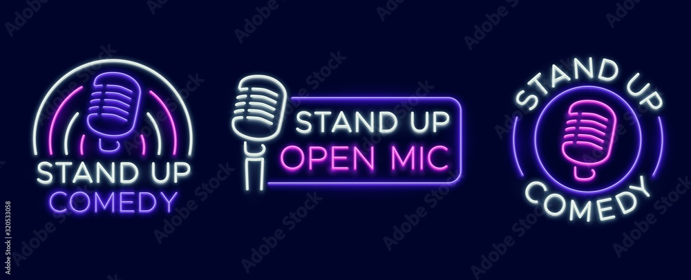 Fototapeta Standup show signs. Neon comedy club and open microphone icons. Comedian entertainment and event vector symbols. Illustration stand up comedy and humor, signboard with microphone