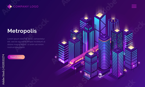 Smart city metropolis isometric landing page, futuristic town with subway train transport and cars riding among tall skyscraper buildings on neon glowing background Fototapete
