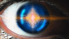 Fingerprint In The Eye Scanning Technology. Fingerprint To Identify Personal, Security System Concept
