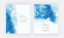 Blue Alcohol Ink Cards With Ge...