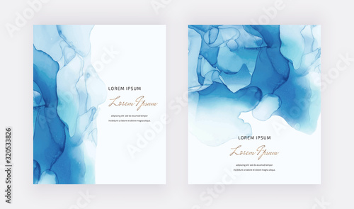 Blue alcohol ink cards with geometric marble frames. Abstract hand painted background. Fluid art painting design. Trendy template for banner, flyer, wedding invitation, product package