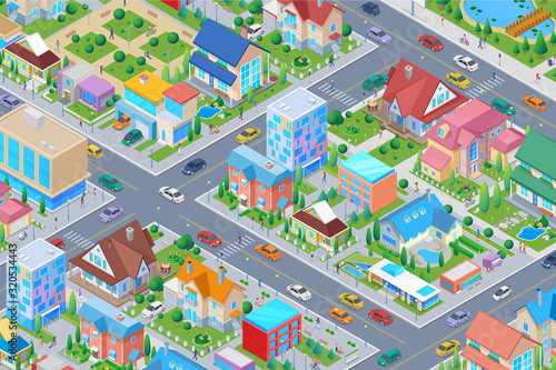 Isometric Smart city District with different Buildings Flat vector illustration. Houses Cottages Administrative Architecture with street cars trees - 320534443