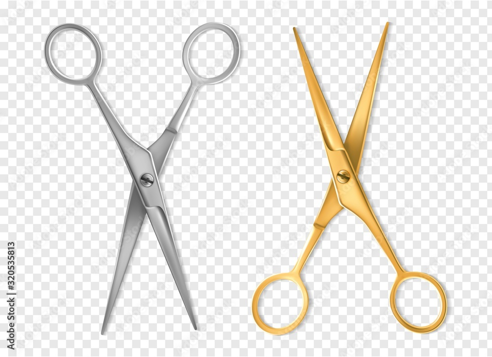 Fototapeta Realistic scissors. Silver and gold metal classic scissors tool mockup, hairdresser or tailor instrument isolated vector set