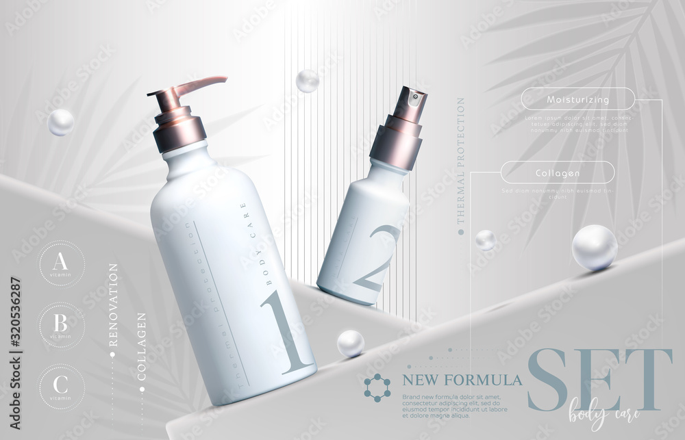 Fototapeta Vector 3D elegant cosmetic products set background premium cream jar for skin care products. Luxury facial cream. Cosmetic ads flyer or banner design. Cosmetic cream template. Makeup products brand.