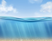 Ocean Surface. Underwater Blue Water Ocean, Suns Rays And Seabed. Clouds, Sea Waves Horizontal Panorama. Isolated Realistic Vector Texture