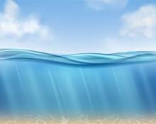 Ocean Surface. Underwater Blue...