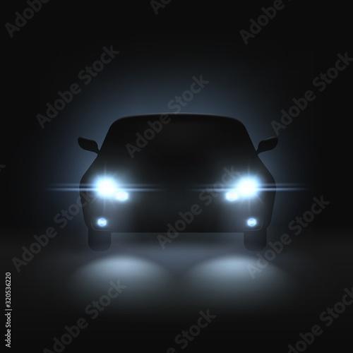 Fototapeta Car headlights. Realistic car with bright headlights in dark, rays light and white blur shadows, night automobile silhouette vector mockup obraz na płótnie