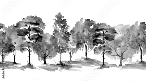seamless-watercolor-pattern-autumn-landscape-forest-park-silhouettes-of-trees-and-bushes-linear-curb-mixed-forest-oak-ash-maple-birch-pine-cedar-spruce-black-and-white-ink-drawing