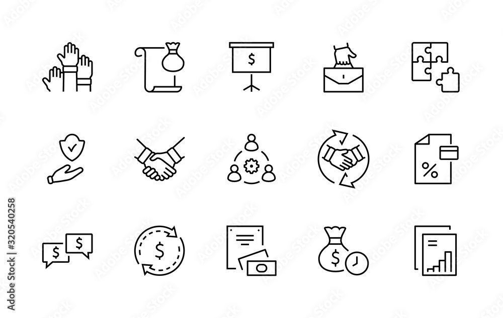 Fototapeta Set of Business Cooperation Vector Line Icons. Contains such Icons as Puzzle, Partnership, Money, Handshake, Dollars, Team, Synergy, Work, Interaction and more.Editable Stroke. 32x32 Pixel Perfect.
