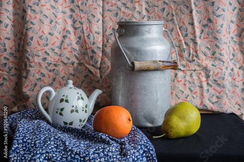 Fototapeta Still life with a milk can, teapot, pear and orange. Vintage russian painting style obraz