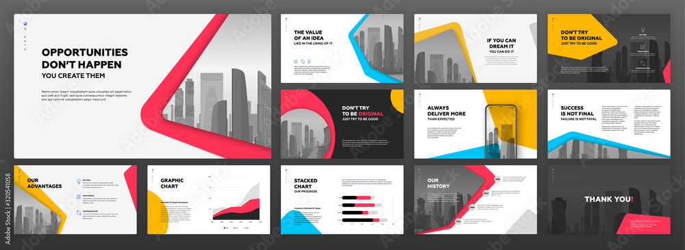 Fototapeta Business powerpoint presentation templates set. Use for modern keynote presentation background, brochure design, website slider, landing page, annual report, company profile, banner.
