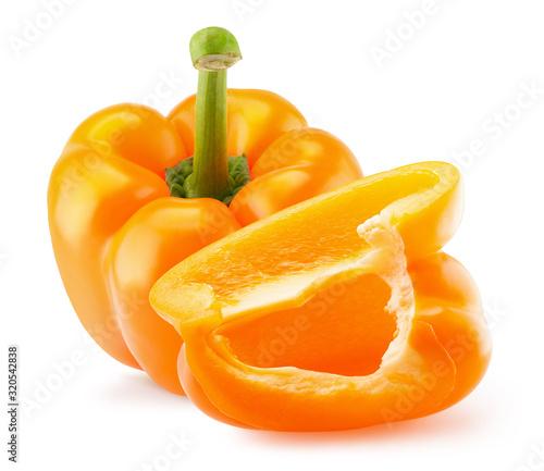 Fotografia, Obraz orange pepper with slice isolated on a white background