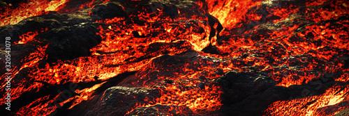 Photo lava flow, magma river close up, molten rock landscape