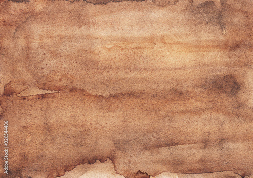 Fototapeta Watercolor old brown background texture. Ancient parchment backdrop hand painted. Light taupe color overlay.  obraz