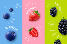 Realistic Berries Banners Set
