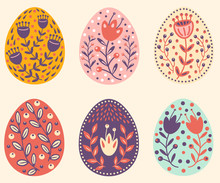 Folk Set Of  Easter Eggs With ...