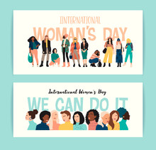 International Womens Day. Vector Illustration Of Abstract Women With Different Skin Colors.