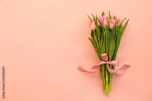 Obraz Fresh flower composition, bouquet of bi color tulips, pale pink and white gradient background. International Women's day, mother's day greeting concept. Copy space, close up, top view, flat lay. - fototapety do salonu