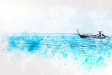 Abstract Fish Boat In Ocean An...